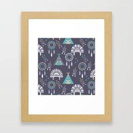 Indian Pattern Purple Framed Art Print