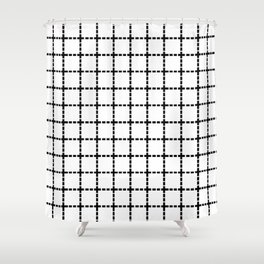 Dotted Grid Black on White Shower Curtain