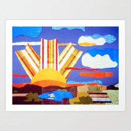 Fabric Sunset Landscape Collage Art Print