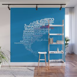 Shark in Different Languages Wall Mural