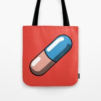 akira Tote Bags featuring Akira Pill by Studio Momo╰༼ ಠ益ಠ ༽