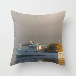 Lobster Boat Maine Fog Print Throw Pillow