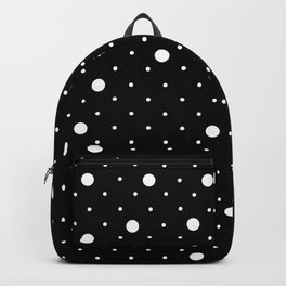 Pin Point Polka Dots White on Black Backpack