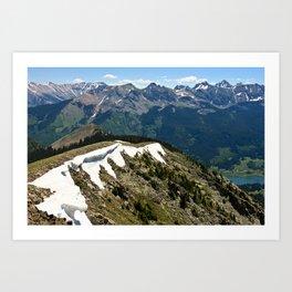 Mountain cornice with snow Art Print