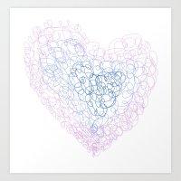 Heart doodle Art Print