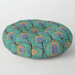 Glitzy Peacock Feathers Floor Pillow