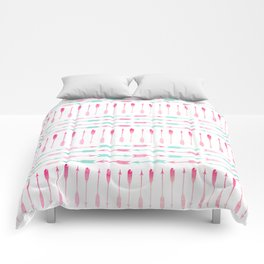 Trendy pink teal watercolor arrows pattern Comforters