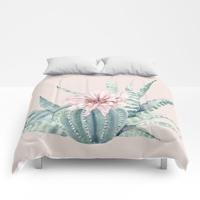 Aloe Cactus Rose Pink Comforters