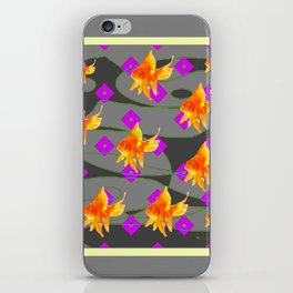 Decorative Gold Fish Modern Grey  Abstract iPhone Skin