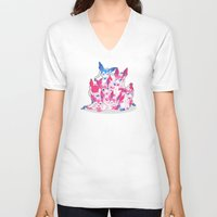 sylveon V-neck T-shirts featuring Sylveon Pile by SilviShinyStar