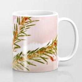 Spruce twig with snowflakes on pink Coffee Mug