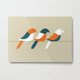 Birds on wire Metal Print