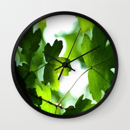 Green Baby Maple Leaves Round Photo Wall Clock