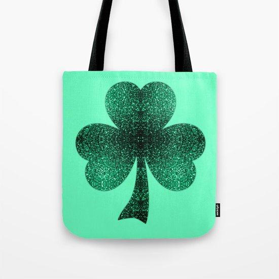 Emerald green shamrock clover sparkles Tote Bag