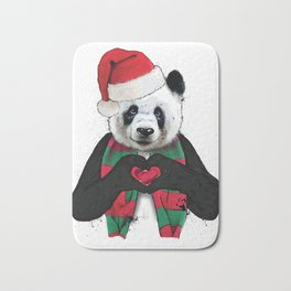 Cute Christmas Panda Holiday Love Shirt Bath Mat