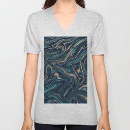 Teal Navy Blue Gold Glitter Marble #1 (Faux Glitter) #decor #art #society6 Unisex V-Neck