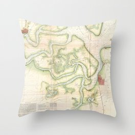 Vintage Map of The St Marys River - FL/GA (1857) Throw Pillow