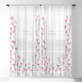 I am peace - Pink Florals Sheer Curtain