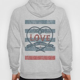 Maritime Design- Love is my anchor on navy blue and red striped background Hoody