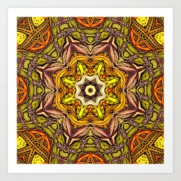 Abstract orange mandala Art Print