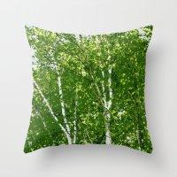 birch Throw Pillows featuring Birch Trees by Tru Images Photo Art