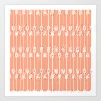 Peach and White Arrows /// www.pencilmeinstationery.com Art Print