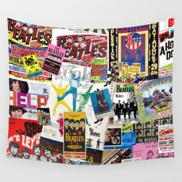 British Rock and Roll Invasion Fab Four Vintage Concert Rock and Roll Photography / Photographs Collage Wall Tapestry