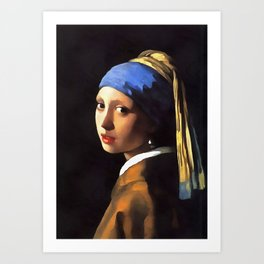 Girl with a Pearl Earring After Johannes Vermeer Art Print