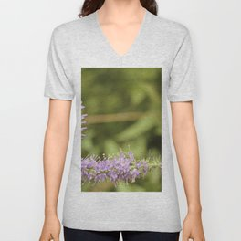 Purple Abstract Flower Vintage Unisex V-Neck