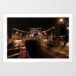 manhattan bridge at night Art Print