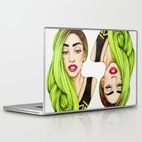 neon Laptop & iPad Skins featuring Lady Neon by Helen Green