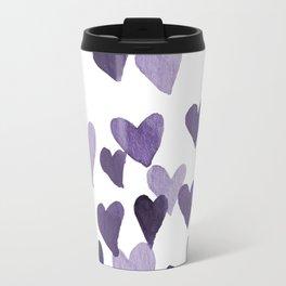 Valentine's Day Watercolor Hearts - ultraviolet Travel Mug