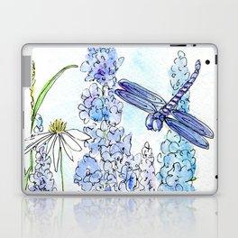 Watercolor Wildflower Garden Dragonfly Blue Flowers Daisies Laptop & iPad Skin