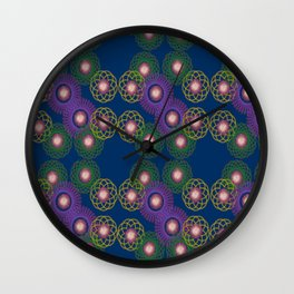 Geometric spirals - blue Wall Clock