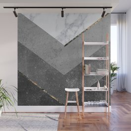 Marble Gray Copper Black Gold Chevron Wall Mural
