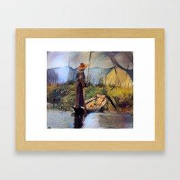 Surveying the Crops - Inle Lake, Myanmar Framed Art Print
