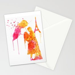 Watercolor Love Couple in Paris Stationery Cards