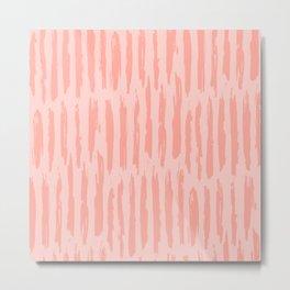 Rose Pink Vertical Dash Stripes Metal Print
