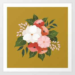 Florals on Mustard Art Print
