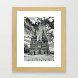 Lichfield Cathedral mono Framed Art Print