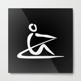 Rowing Logo 1 white Metal Print