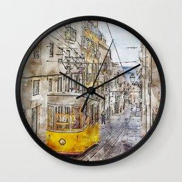 Lisbon Portugal Urban Painting Travel Art Wall Clock