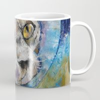space cat Mugs featuring Space Cat by Michael Creese