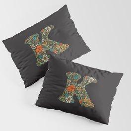 Hippie Floral Letter K Pillow Sham