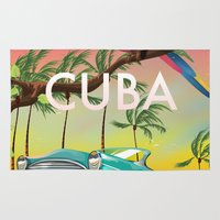 travel poster Area & Throw Rugs featuring Cuba vintage travel poster print by Nick's Emporium Gallery