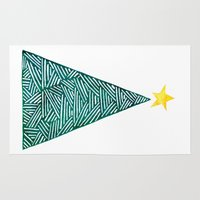 christmas tree Area & Throw Rugs featuring Christmas tree by Bridget Davidson