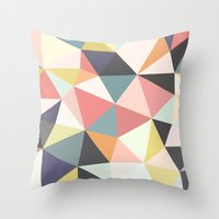 deco Throw Pillows featuring Deco Tris by Beth Thompson