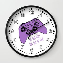 Video Game White & Lavender Wall Clock