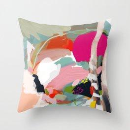 birches in garden abstract modern art Throw Pillow
