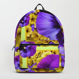 DECORATIVE PURPLE PANSIES & YELLOW PETUNIAS ART Backpack
